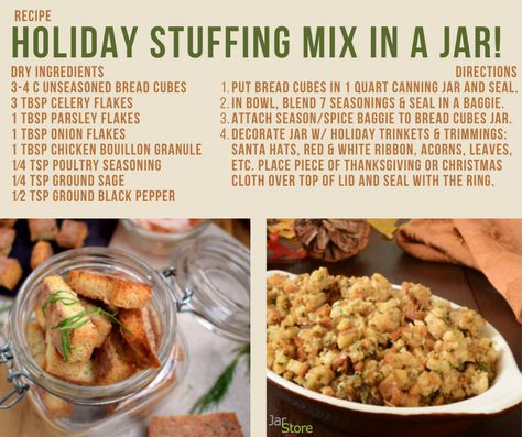 In order to make accurate holiday stuffing, you should come prepped to go with the best recipe. Holiday stuffing mix in a jar ensures a quick meal creation since all of your core spices and ingredients are already pre-sliced and contained all in one space for simple pouring out and cooking! #holidaystuffingmixinajar #stovetopstuffingmixinajar #stuffingchickencasserole #diystuffingcubes #mixinajar #holidaystuffing #thanksgivingstuffing