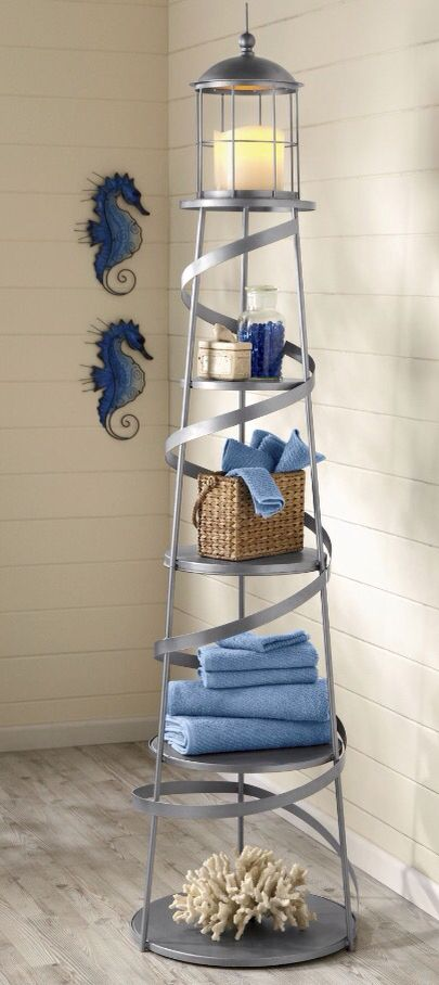 Nautical Lighthouse Bathroom Shelf Coastal Decor Pinterest - Metal corner shelf bathroom for bathroom decor ideas