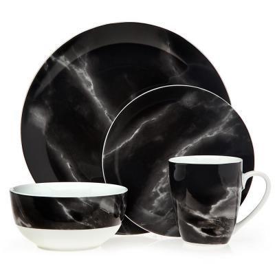 Carrera 16 Piece Black Dinnerware Set White Dinnerware Set Black Dinnerware Set Porcelain Dinnerware