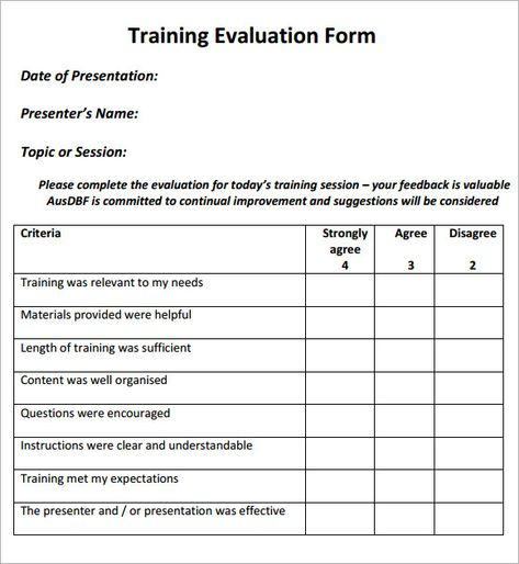 Image result for evaluation forms for training desk top Pinterest - sample training evaluation form