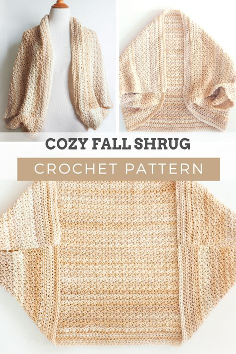 Crochet Pattern - COZY FALL SHRUG: One of my favorite details on this cozy sweater is the use of the delicate spider stitch. CLICK THE LINK NOW! One of the patterns that stands out the most this season is this beautiful cozy fall shrug. Gilet Crochet, Crochet Cardigan Pattern, Crochet Jacket, Crochet Stitches, Knit Crochet, Crochet Patterns, Vest Pattern, Crochet Shrugs, Crochet Sweaters