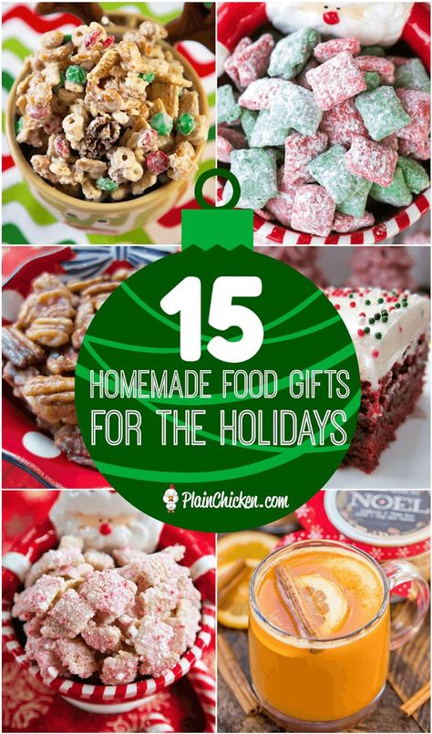 15 Homemade Food Gifts for the Holidays -homemade gifts are the BEST gifts! Here are 15 ideas for easy homemade holiday gifts - perfect for teachers, co-workers and friends! food gifts 15 Homemade Food Gifts for the Holidays Homemade Food Gifts, Diy Food Gifts, Christmas Food Gifts, Holiday Gifts, Christmas Appetizers, Christmas Candy, Christmas Desserts, Easy Homemade Christmas Gifts, Diy Christmas