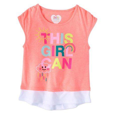 a7f8d918b 365 Kids from Garanimals Little Girls' 4-8 Embroidered Graphic TwoFer T- Shirt, Size: 7, Pink