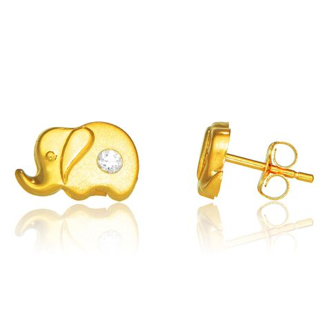 d344ba14b 14k Real Yellow Gold Elephant Post Stud Shiny CZ Earrings Baby Kids