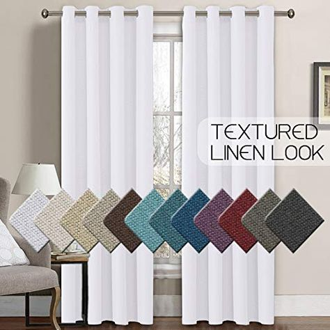 Linen Curtains 108 Inches Room Darkening Thermal Insulated Extra Long 108 Textured Linen Burlap White Curtain Grommet Primitive Linen Cur