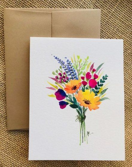 20 New Ideas Flowers Drawing Watercolor Greeting Card Drawing