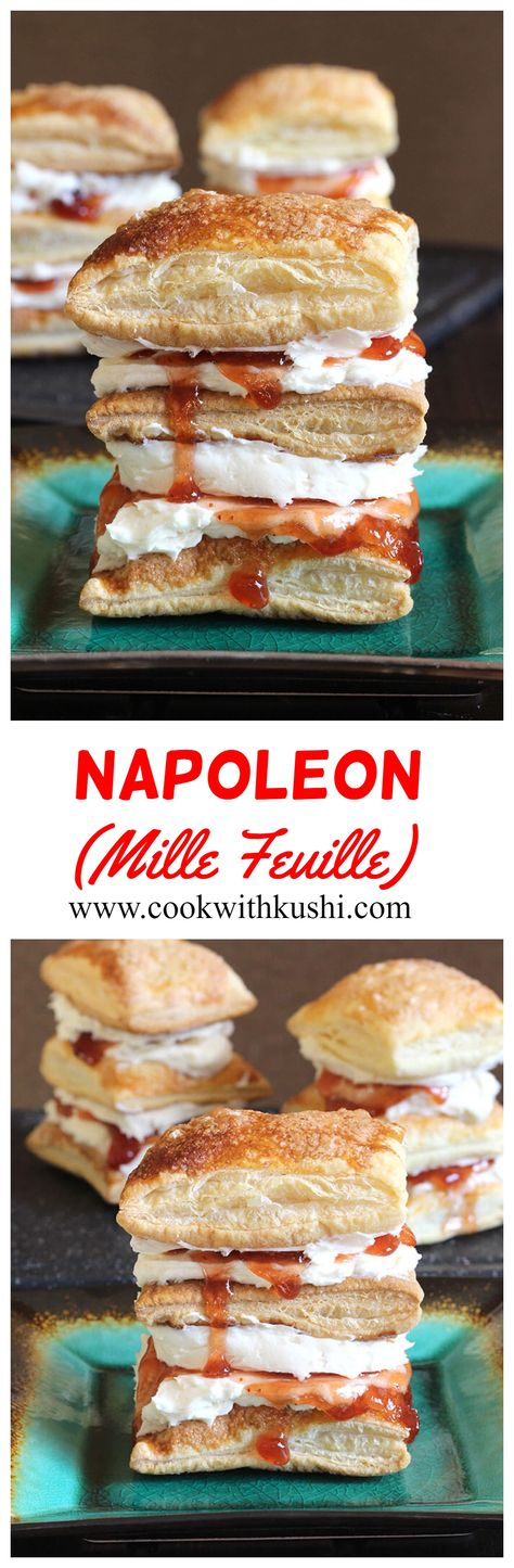 Napoleon or Mille Feuille is a super delicious dessert with layers of puff pastry and cream filling. It is creamy, airy, cripsy and flaky with right amount of decadent flavors in every single bite.   #puffpastryrecipes #frenchdessert #strawberryrecipes #strawberries #summerdessert #puffpastrydessert #strawberries #vanillabuttercream #buttercreamfrosting #fruitpie #berrypie #strawberrypie #strawberrydesserts #strawberryshortcake #easydessert #summerdinnerrecipes #summerdessert #easydinnerrecipes