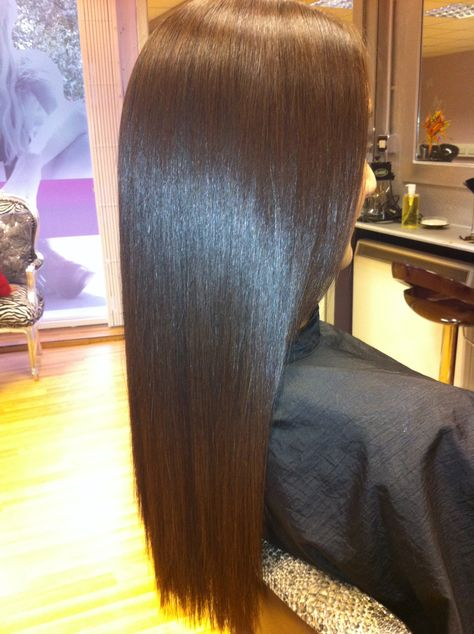 Hair after keratin treatment.