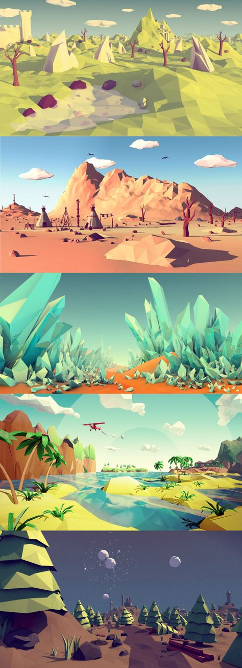 """I think the 'Low Poly"""" art style is so freaking awesomeYou can find Low poly and more on our website.I think the 'Low Poly"""" art style is so freaking awesome Concept Art Landscape, Fantasy Landscape, Landscape Art, Landscape Design, Modelos Low Poly, Modelos 3d, Art Environnemental, 3d Art, Game Design"""