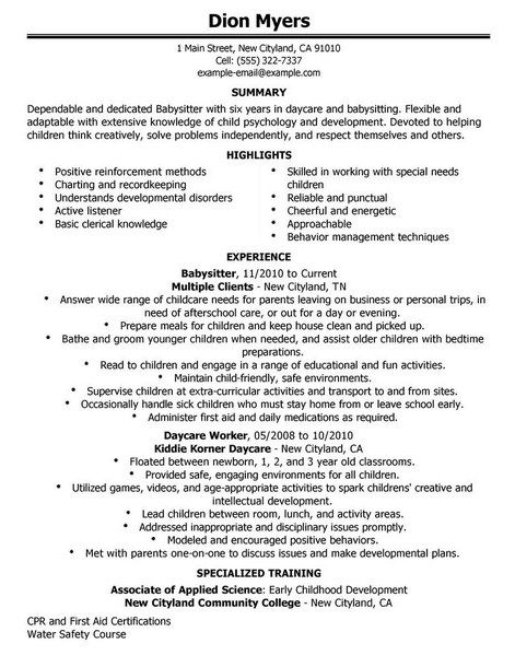Nanny Resume Example Sample Basitting Children Professional For