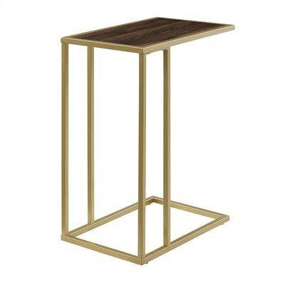 Brayden Studio Jorgensen Asymmetrical Modern End Table Colour Dark Walnut Gold Modern End Tables End Tables C Table