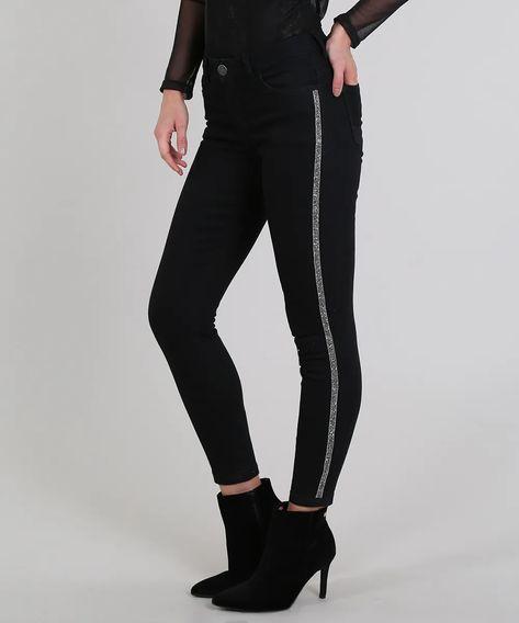 Calça Feminina Listra Lateral Jeans Hot Pants 2018
