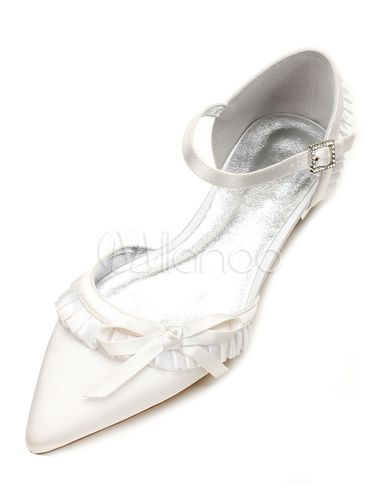 Ivory Wedding Shoes Satin Pointed Toe Ruffle Bow Buckle Detail