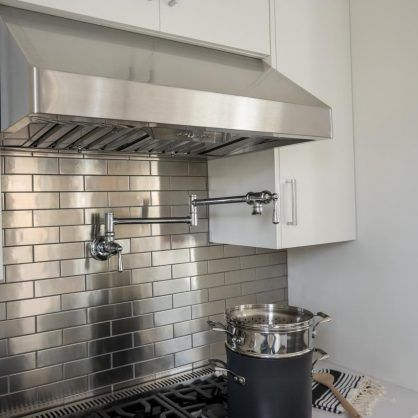Shiny Ribbon Silver Metal Kitchen Backsplash Sleek Kitchen