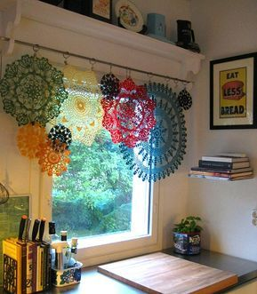 Uses For Old Lace Remnants & Crochet Doilies Creative ideas in crafts and upcycled, innovative, repurposed art and home decor.Creative ideas in crafts and upcycled, innovative, repurposed art and home decor. Crochet Curtains, Lace Curtains, Crochet Doilies, Patchwork Curtains, Sewing Curtains, Layered Curtains, Yellow Curtains, Ikea Curtains, Double Curtains