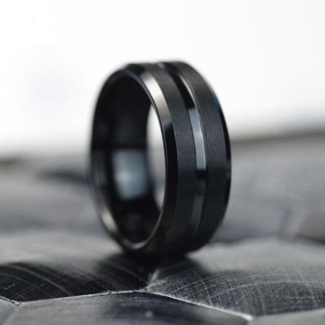 Classic Men Black Stainless Steel 8mm Polished Matte Brushed Finish Center Wedding Band Ring, Comfort Fit. As well please remember it takes up to 15 days to make and ship this item. Black Wedding Rings, Black Rings, Wedding Ring Bands, Mens Tungsten Wedding Bands, Promise Rings For Couples, Engagement Rings For Men, Cool Rings For Men, Rings For Boys, Wedding