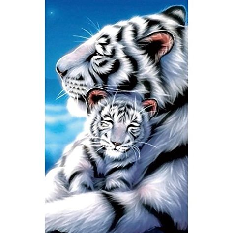 HOT SALE ! 5D Diamond Diy Painting Full Drill Handmade White Tiger Mother Child Under Moonlight Starry Sky Cross Stitch Home Decor Embroidery Kit ❤️ ZYEE