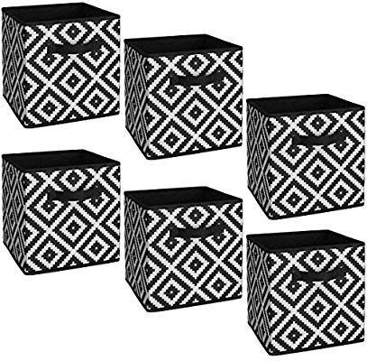 Amazon Com System Build 6 Pack Storage Bins Cube Organizers Canvas Baskets Drawers Fits 12x12 11x11 Space H Canvas Storage Storage Bins Fabric Storage Bins