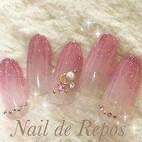 ハンド/グラデーション/ラメ/ビジュー/ピンク , Nail de Repos