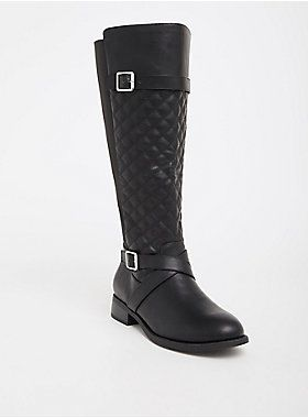Black Quilted Faux Leather Knee Boot