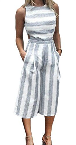 CYJ-shiba Womens Off Shoulder Sleeveless Ruffle Wide Leg Pants Romper Jumpsuit