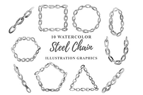 10 Watercolor Steel Chain Illustration PNG Graphics