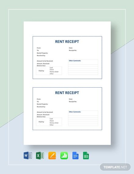 Rent Receipt Template Free Pdf Google Docs Google Sheets Excel Word Template Net Receipt Template Invoice Template Word Funeral Program Template