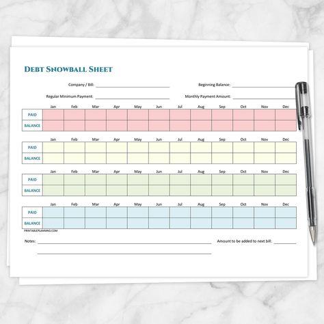 Debt Snowball Sheet, Debt Payoff Plan, and Bill Payment Tracker Log - Printable BUNDLE