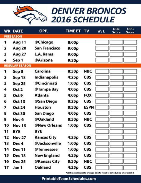 2016-17 Denver Broncos Schedule