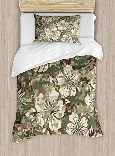 Big Buy Store Camo Duvet Cover Aloha Hawaiian Tropical Jungle Forest Hibiscus Flowers Leaves Nature Decorative 4 P Duvet Cover Sets Duvet Sets Ruffle Bedding
