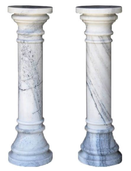 Pair Of 40 Tall White Marble Column Pedestals Marble Columns White Marble Pedestal