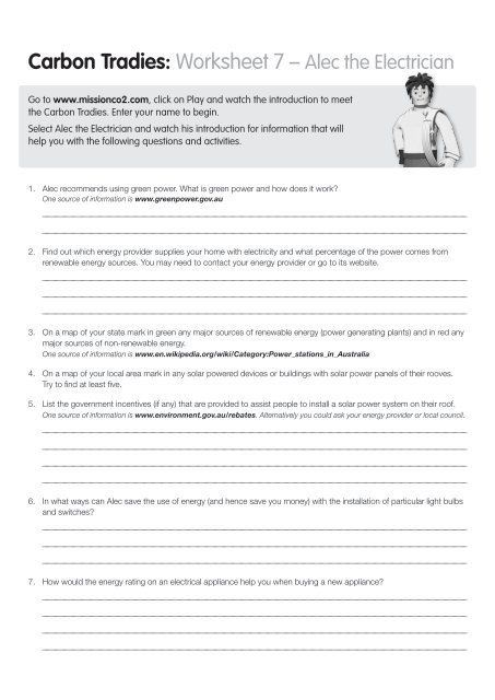 Introduction To Energy Worksheet Worksheet 7 Alec The Electrician Savewater In 2020 Word Problem Worksheets Simplifying Radical Expressions Worksheet Template
