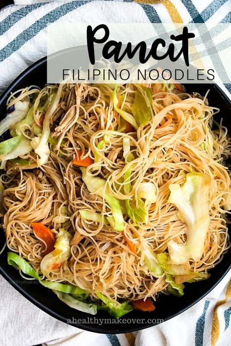 Pancit Canton – authentic Filipino-style fried noodles made with chicken and vegetables. Chicken Pancit Recipe, Chicken Recipes, Vegetarian Recipes, Cooking Recipes, Healthy Recipes, Wok Recipes, Noodle Recipes, Asian Recipes, Ethnic Recipes