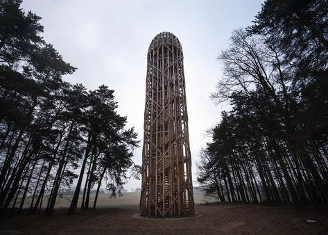 This 25-metre wooden lookout in the Czech Republic by Mjölk Architekti is named Cucumber Tower in an attempt to discourage association with phallic forms.