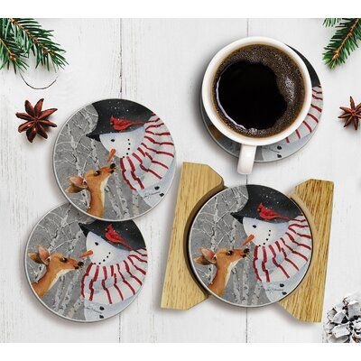 The Holiday Aisle Absorbent Snow Day 5 Piece Coaster Set With Holder Wayfair In 2020 Coaster Gift Set The Holiday Aisle Coasters