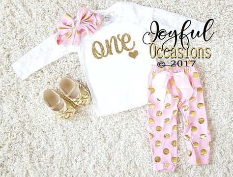 005ac7588 1st Birthday Pants Outfit Spring - Cute Pink White Gold Polka Dot First  Birthday Glitter Birthday Ag
