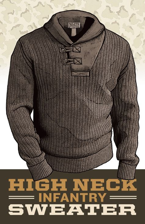 When it comes to gift shopping this year, skip the wimpy sweaters. Give him something better! Like the men's High-Neck Infantry Sweater, inspired by the sweaters that saved our GI's necks. Recreated in a hearty rib that allows any guy on your gift list more freedom to maneuver.