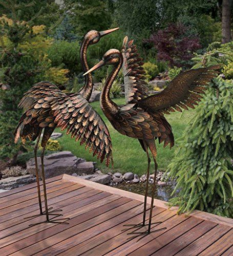 Large Crane Pair Sculpture Garden Metal Yard Art Statue