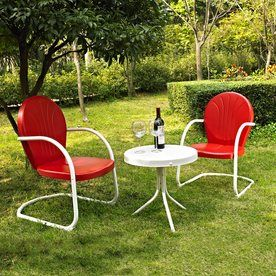 Crosley Furniture Griffith 3 Piece Steel Patio Conversation Set