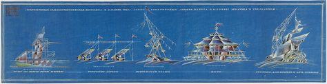 Эскиз павильонов Всероссийской сельско-хозяйственной выставки. 1923, архитектор А.К. Буров.