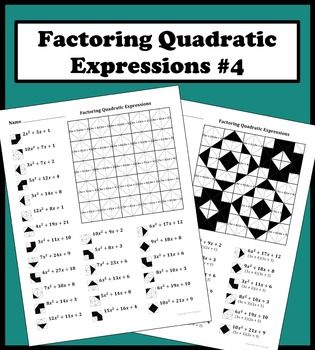 Factoring Quadratic Expressions Color Worksheet 4 Math Middle