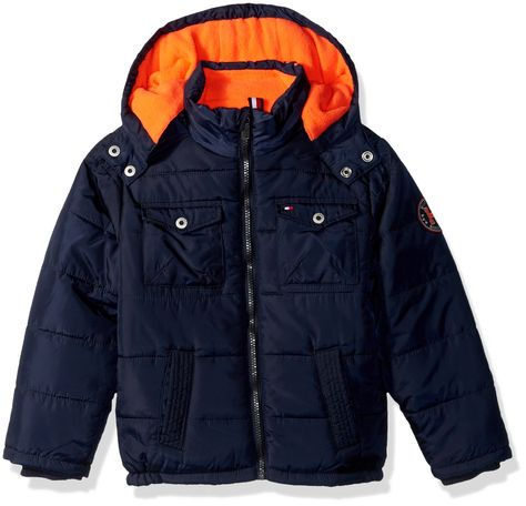 0763245c Tommy Hilfiger Little Boys' Alexander Puffer Jacket, Swim Navy, 7.  Polyester fill puffer jacket with embroidered applique. Two functional  chest pockets and ...