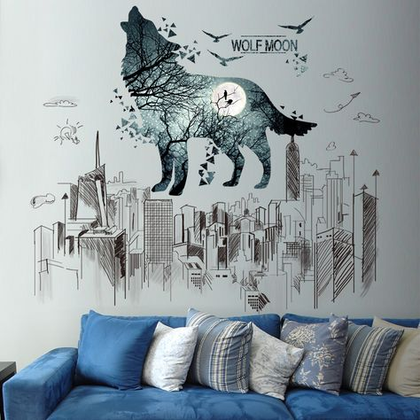 Wolf Moon Night Home 3D Wall Sticker Art Poster Decals Murals Kids Room Z50