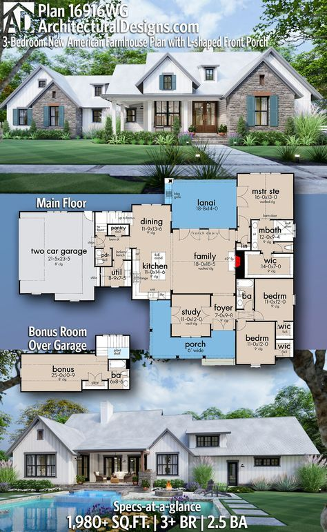 Plan 16916wg 3 Bedroom New American Farmhouse Plan With L Shaped Front Porch Modern Farmhouse Plans Family House Plans House Plans Farmhouse