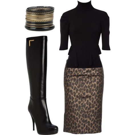 Leopard pencil skirt,black top, tall black boots.   In love with this!!!