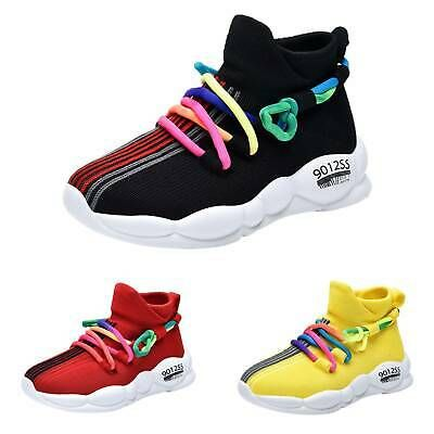 Boys Girls Mesh Breathable Children Sneakers Running Trainers Gym Lace Up Shoes