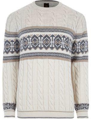 River Island Mens Stone Fairisle cable knit Christmas sweater ...