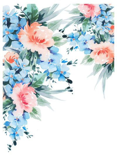 Blue Orange Blossom Bouquet Watercolour Jpg Akvarelnye Otkrytki
