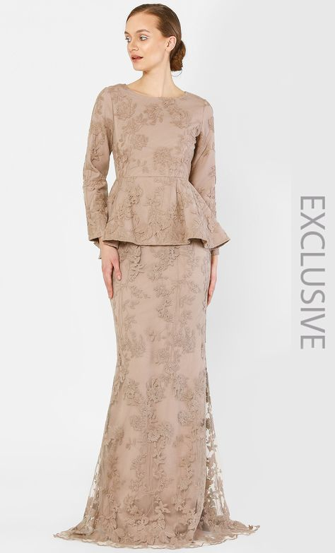 The Peplum Kurung with Full Dahlia Lace in Sand