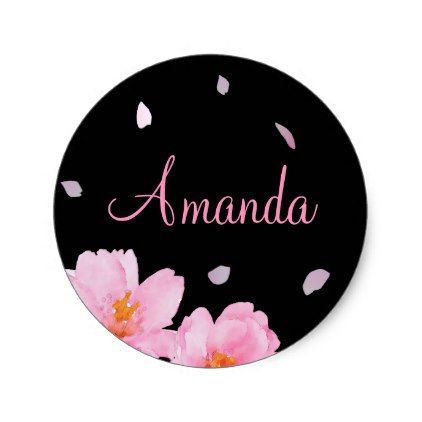Pink And Black Sakura Cherry Blossoms Name Sticker Graduation Gifts Giftideas Idea Party Celebrati Wedding Stickers Graduation Stickers Sakura Cherry Blossom